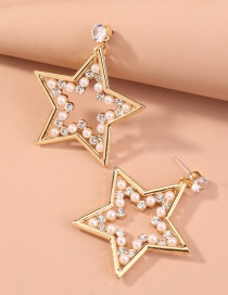 Fashion Gold Color Five-pointed Star Diamond And Pearl Earrings