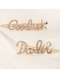 Fashion Gold Color Letter Rhinestone Alloy Hairpin