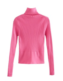 Fashion Pink Long-sleeved Stand-collar Ribbed Sweater