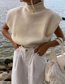 Fashion Apricot Stand-up Collar Solid Color Shoulder Pad Knit Top