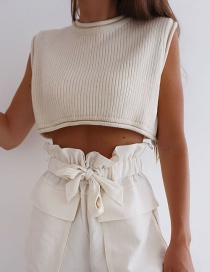 Fashion Cream Color Cropped Solid Color Knit Top