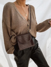 Fashion Brown Single-breasted V-neck Sweater Coat