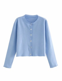 Fashion Blue Round Neck Single-breasted Solid Color Knitted Cardigan