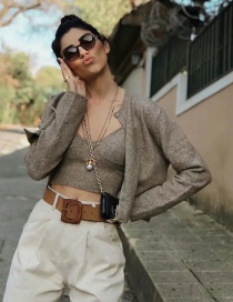 Fashion Coffee Color Round Neck Single-breasted Solid Color Knitted Jacket