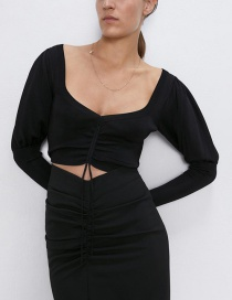 Fashion Black Short Knit Top With Canopy Sleeves