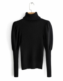 Fashion Black Puff Sleeve High Neck Solid Color Sweater