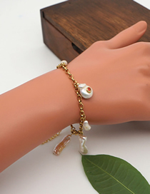 Fashion Gold Color Natural Freshwater Pearl Gold-plated Color Preserving Geometric Bracelet