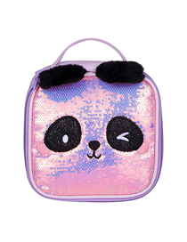 Fashion Violet Panda Portable Storage Double Zipper Laser Sequin Cosmetic Bag