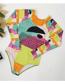 Fashion Green Orange Yellow Long Sleeve Abstract Print One-piece Swimsuit Surf Suit