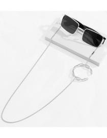 Fashion White K U-shaped Metal Chain Opening C-shaped Alloy Eye Chain