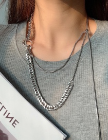 Fashion Silver Chain Tassel Alloy Multilayer Necklace