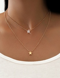 Fashion Golden Double Five-pointed Star Rhinestone Pendant Necklace