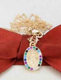 Fashion Gilded Oval Virgin Mary Gilded Copper Pendant Necklace
