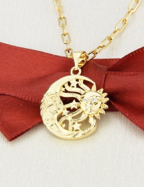 Fashion Gilded Sun Moon Gold Plated Moon Star Copper Pendant Necklace