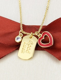 Fashion Gilded Flat Square Lucky Tag Gold Plated Round Bead Love Pendant Necklace