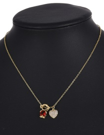 Fashion Red Copper Inlaid Zircon Love Girl Necklace