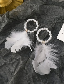 Fashion White Pearl Feather Alloy Earrings