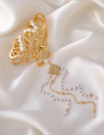 Fashion Butterfly Fringed Butterfly Pearl Alloy Hollow Shark Clip