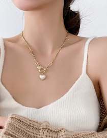 Fashion Gold Color Ot Buckle Pearl Love Alloy Necklace