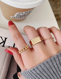 Fashion Gold Color Suit Square Alloy Braided Chain Open Ring