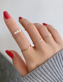 Fashion Gold Color Pearl Wave Pattern Alloy Geometric Ring Set