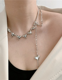 Fashion Beads Pearl Chain Stitching Love Tassel Necklace