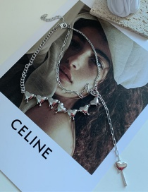 Fashion Alloy Pearl Chain Stitching Love Tassel Necklace