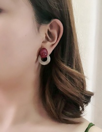 Fashion Red Colorblock Acrylic Geometric Marble Pattern Round Earrings
