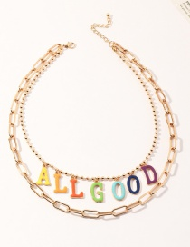 Fashion Color Multilayer Necklace With Chain Alloy Dripping Oil Letters