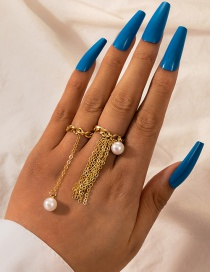 Fashion Gold Color 2 Piece Set Of Tassel Pearl Hollow Chain Ring