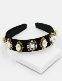 Fashion Black Velvet Diamond Pearl Geometric Headband