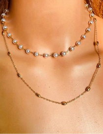Fashion Gold Color Pearl Geometric Alloy Multilayer Necklace