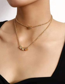 Fashion Gold Color Alloy Dice Pendant Multilayer Necklace