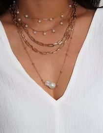 Fashion Gold Color Multilayer Necklace With Shaped Pearl Alloy Pendant