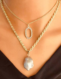 Fashion Gold Color Double-layer Necklace With Chain Geometric Pearl Pendant