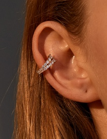 Fashion Kc Gold Double-layer Micro-inlaid Zircon Copper Gold-plated Geometric Non-pierced Earrings