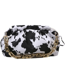 Fashion Black And White Cow Pattern Chain Pleated Leopard Print Diagonal Shoulder Bag