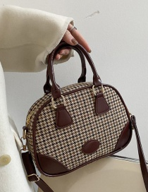 Fashion Dark Brown Houndstooth Stitching Crossbody Shoulder Armpit Bag