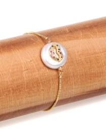 Fashion Gold Color Micro-inlaid Color Diamond Mouth Shaped Button Pearl Bracelet