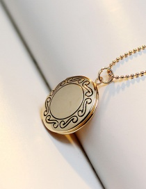 Fashion Gold Color Patterned Round Photo Box Gold-plated Copper Necklace