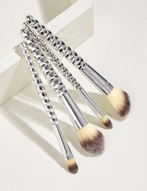 Fashion Silver Color 4pcs Honeycomb Plastic Handle Aluminum Tube Nylon Hair Makeup Brush Set