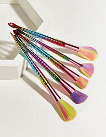 Fashion Colorful 5 Mermaid Cosmetic Brushes With Aluminum Tube And Nylon Hair