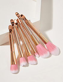 Fashion Rose Gold Color 6pcs Curved Ear Plastic Handle Aluminum Tube Nylon Hair Makeup Brush
