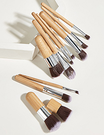 Fashion Wood Color 11pcs Bamboo Handle Aluminum Tube Nylon Hair Makeup Brush Set