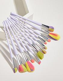 Fashion Color Set Of 12 White Handle Aluminum Tube Nylon Hair Makeup Brushes