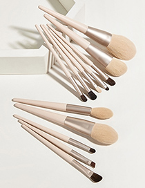 Fashion Morandi Set Of 12 Nylon Hair Makeup Brushes With Wooden Handle