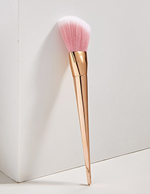 Fashion Rose Gold Color Single Diamond Plastic Handle Aluminum Tube Nylon Hair Makeup Brush