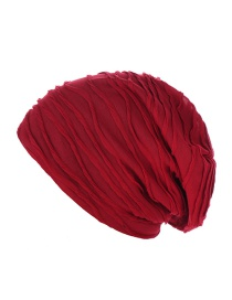 Fashion Wine Red Pleated Solid Color Cap