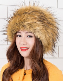 Fashion Imitation Raccoon Hair Coffee Tip Fur Warm And Cold-proof High Imitation Fox Hair Pot Hat
