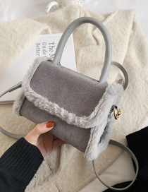 Fashion Gray Suede Panelling Flap Crossbody Shoulder Bag